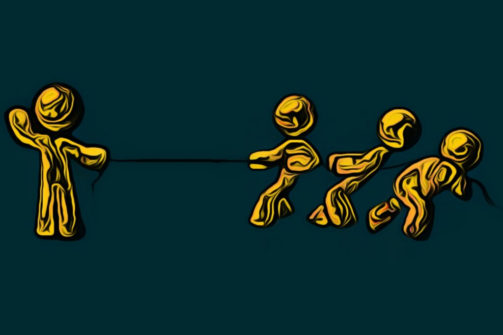 An image showing how the tug of war game is played.